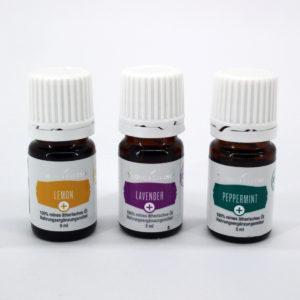 Basisset Aromatherapie: Zitrone, Lavendel, Pfefferminz in NEM-Qualität, jeweils 5ml Flaschen