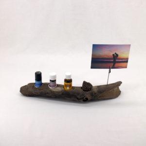Ölhalter aus Treibholz, Vorderseite mit Deko